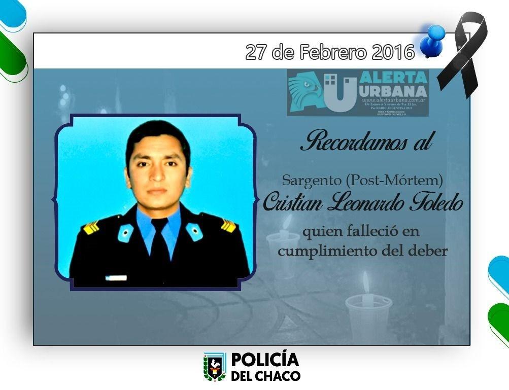 La Policía recuerda al Sargento Post Mortem Cristian Toledo, quien salvó a su familia de un incendio
