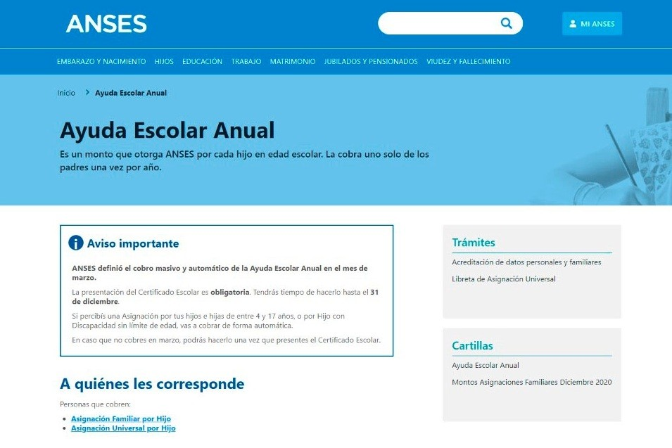 Ayuda escolar anual 2021 de Anses: cómo cobrarla y cuáles son los montos y requisitos