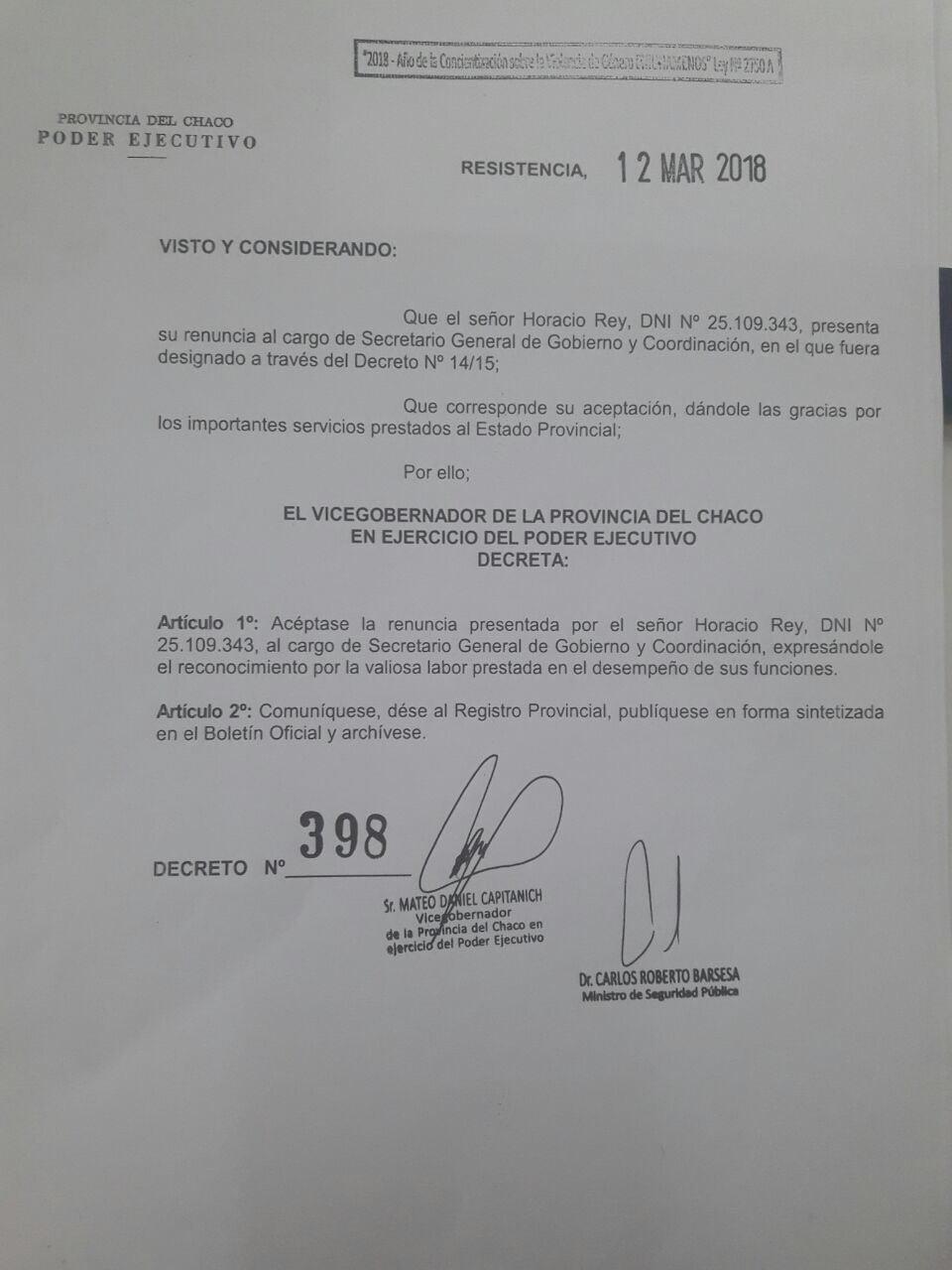 Renunció Horacio Rey a la Secretaría de Gobierno