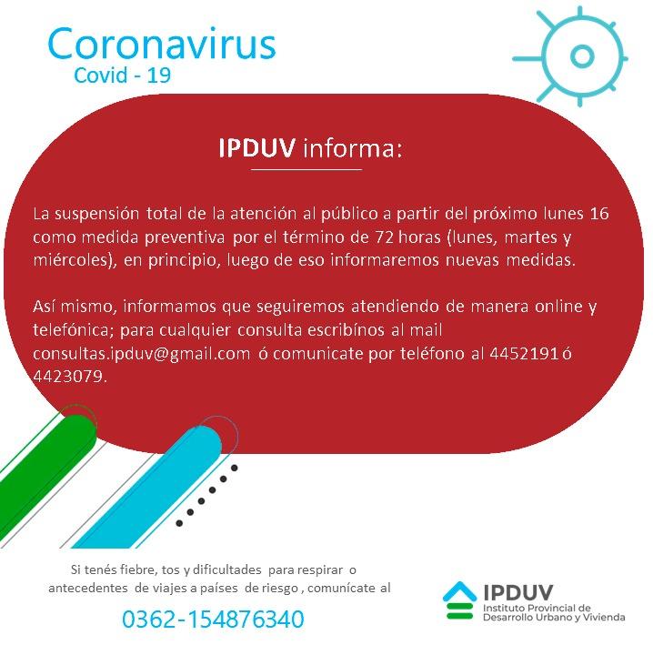 IPDUV restringe la atención al público a modo de prevención