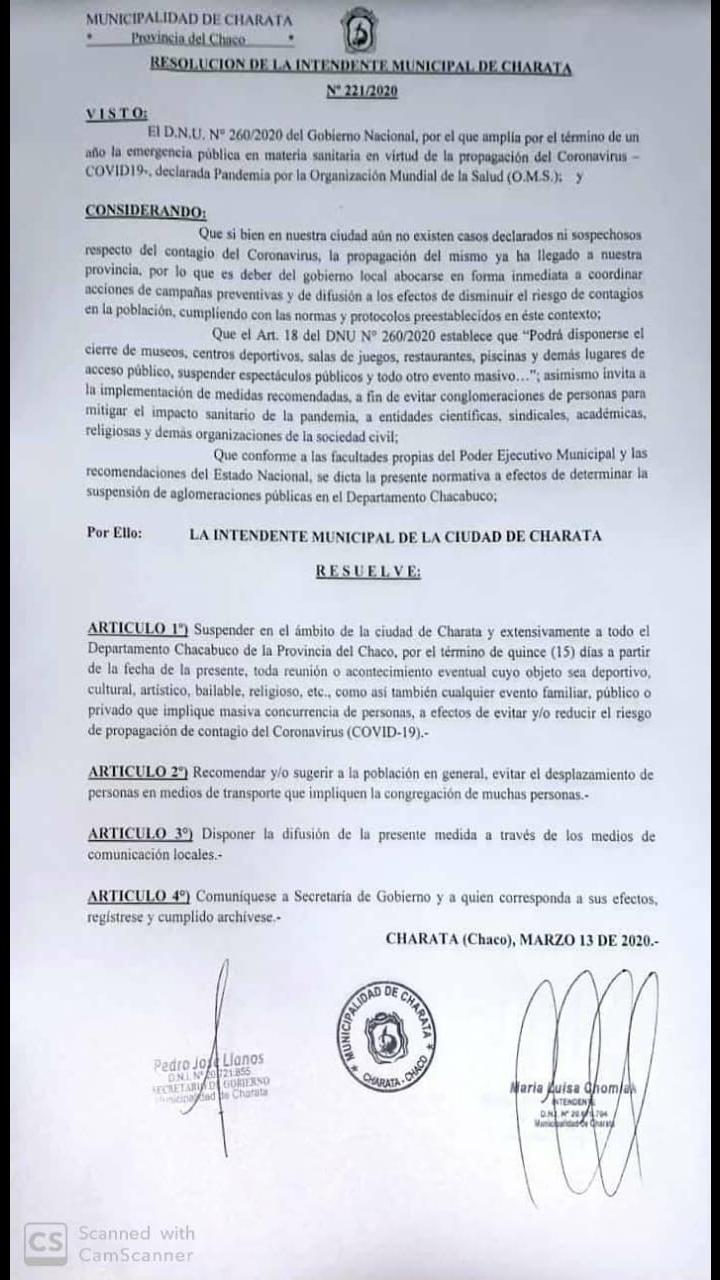El municipio de Charata suspende actividades sociales, deportivas o de cualquier Índole en el Departamento Chacabuco.