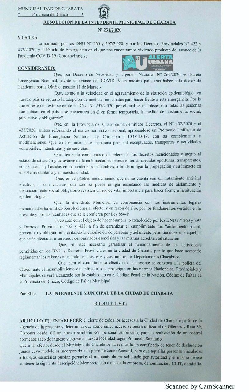 El Municipio de Charata anunció fuertes sanciones a quienes incumplan el aislamiento obligatorio
