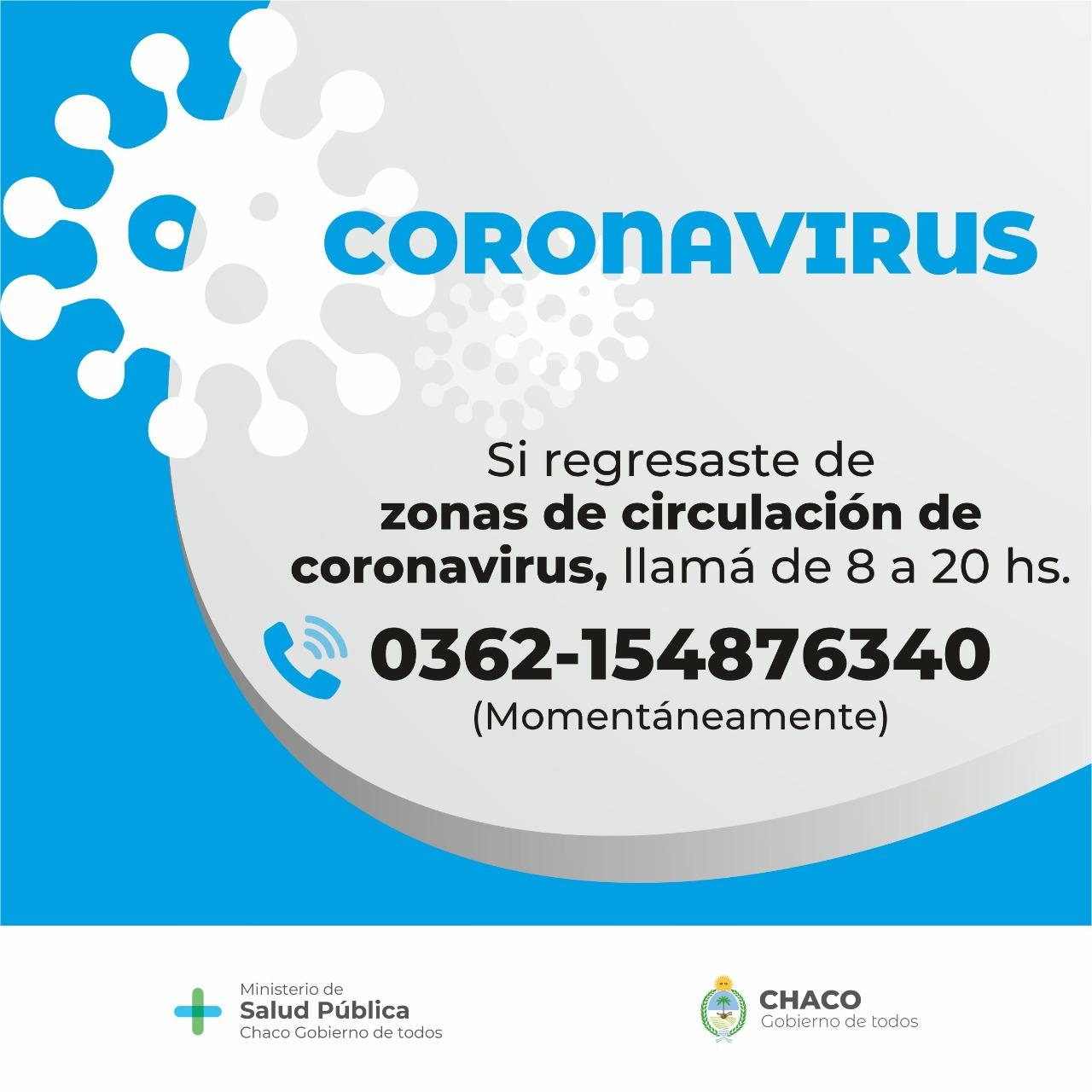 Salud actualizó la información sobre coronavirus y dengue en Chaco