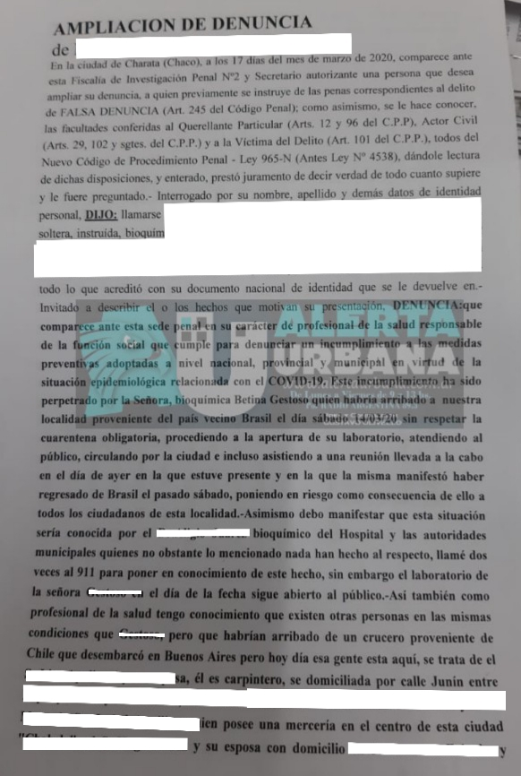 En Charata denuncian a varias personas por violar la cuarentena.