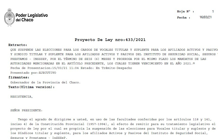 Capitanich envió a la legislatura proyecto de ley para suspender elecciones en INSSSEP