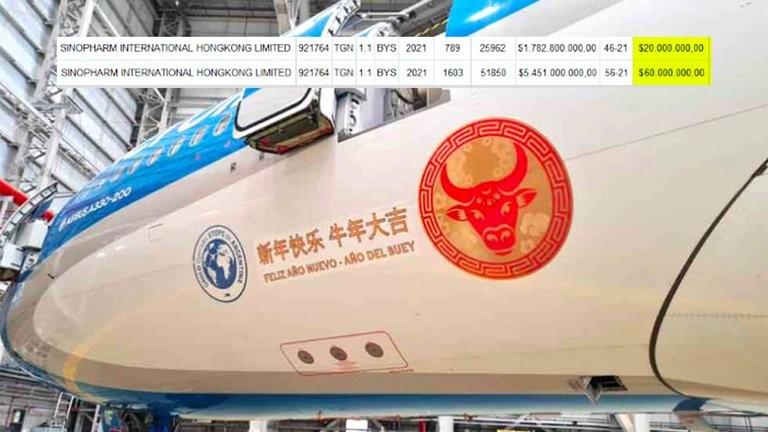 Nación pagó por adelantado USD 60 millones a China por 3 millones de dosis de la vacuna Sinopharm