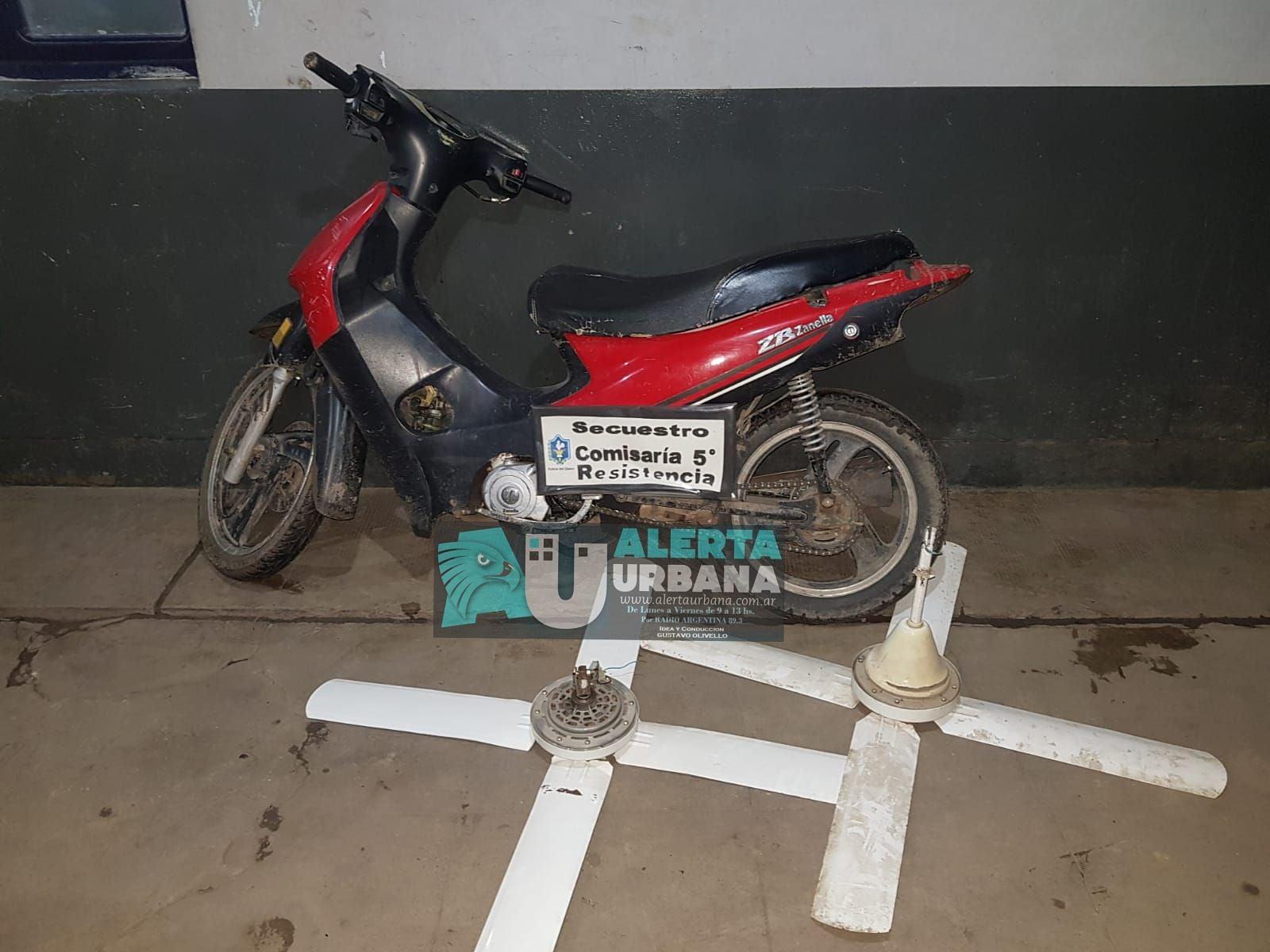 Recuperan ventiladores y una moto robada