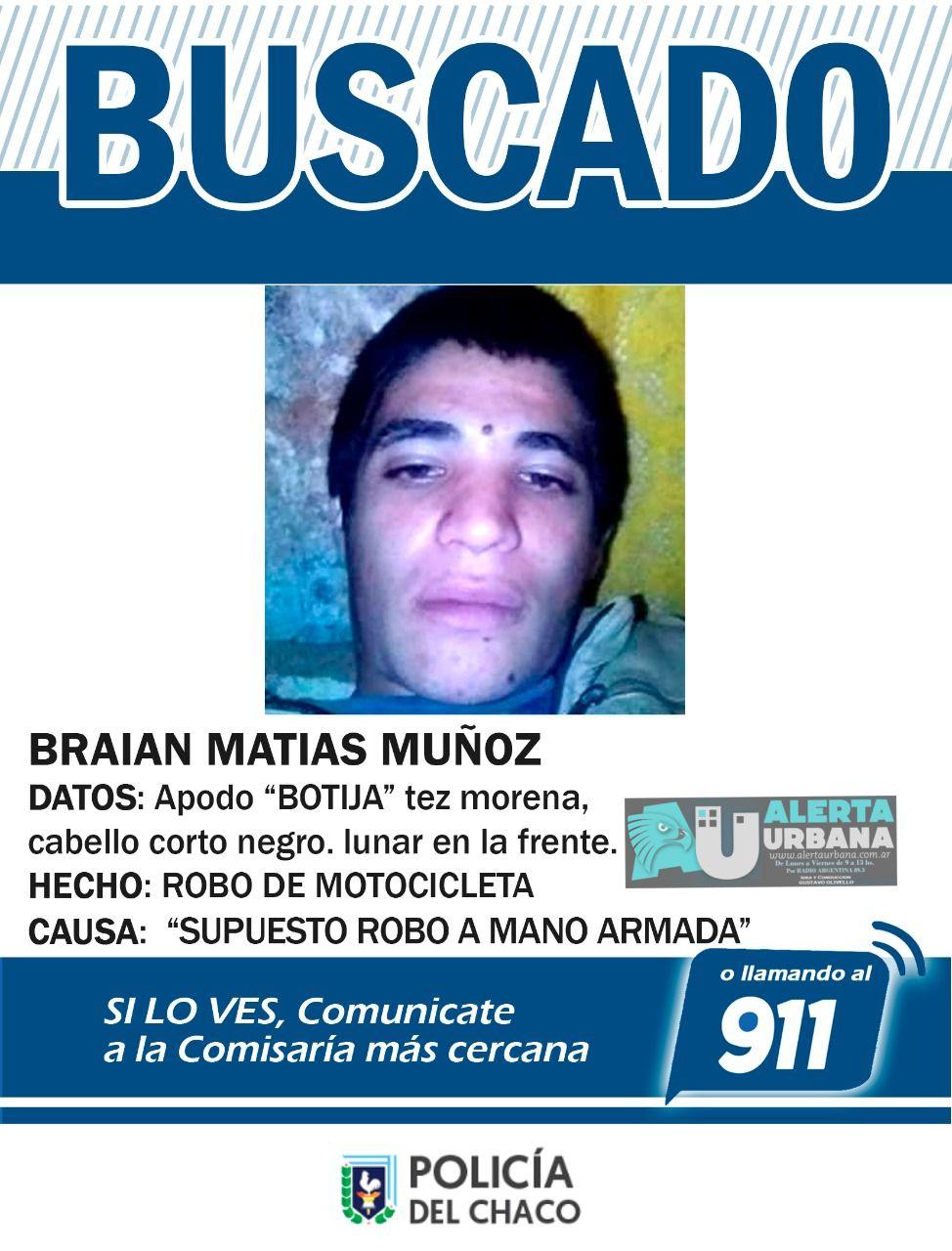 Se busca el paradero de Braian Matías Muñoz