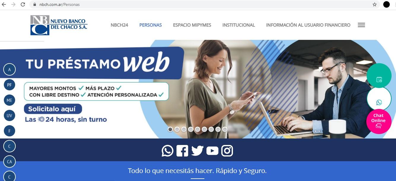 Nuevo Banco del Chaco habilita la solicitud web de préstamos personales