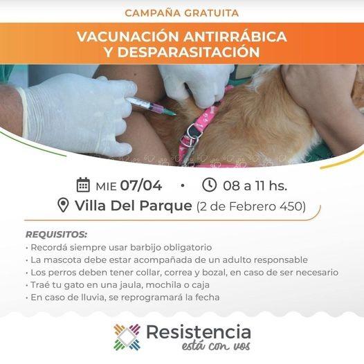 Hoy miércoles vacunación gratuita de mascotas en el Centro Comunitario municipal de Villa del Parque