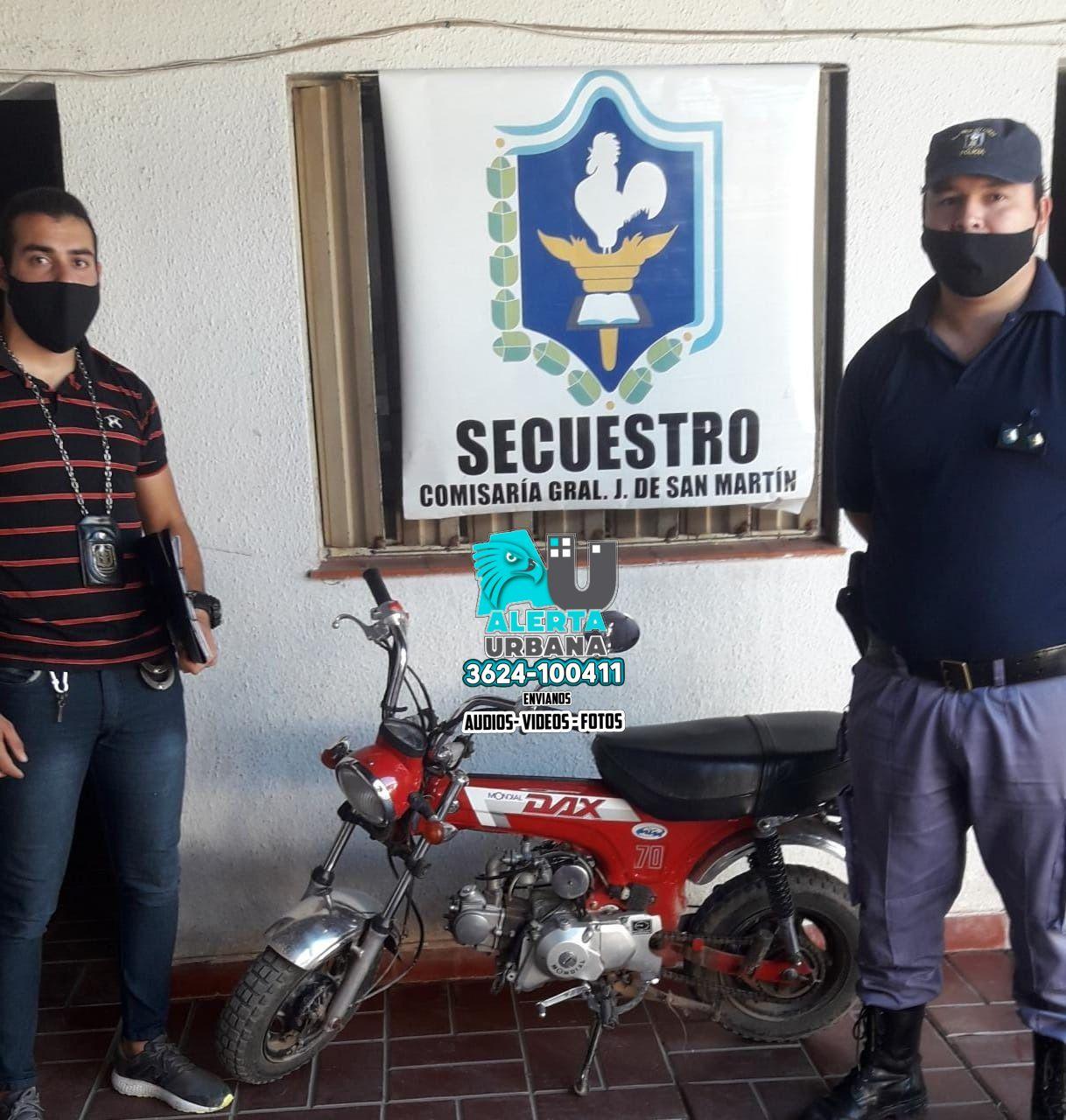 San Martín: recuperan moto robada en menos de 24 hs