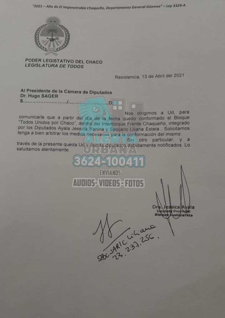 Sorpresa en la legislatura: Ayala y Spoljaric con nuevo bloque dentro del Frente Chaqueño