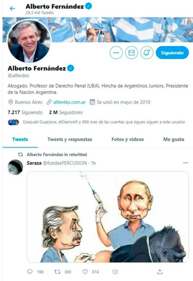 El Presidente, Alberto Fernández, retuitéo una polémica caricatura