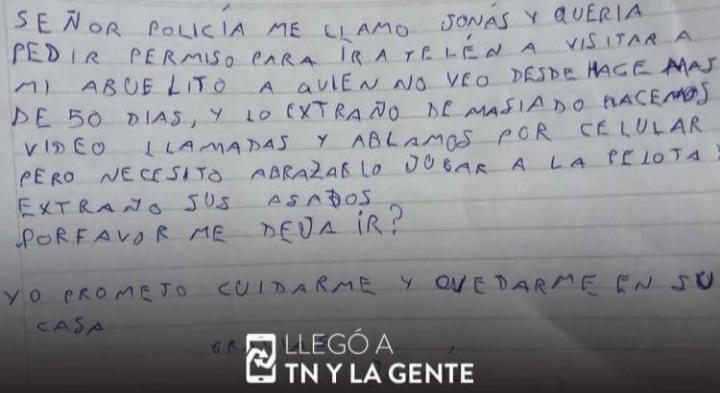 La tierna carta que un nene le escribió a un policía para que lo deje viajar a ver a su abuelo