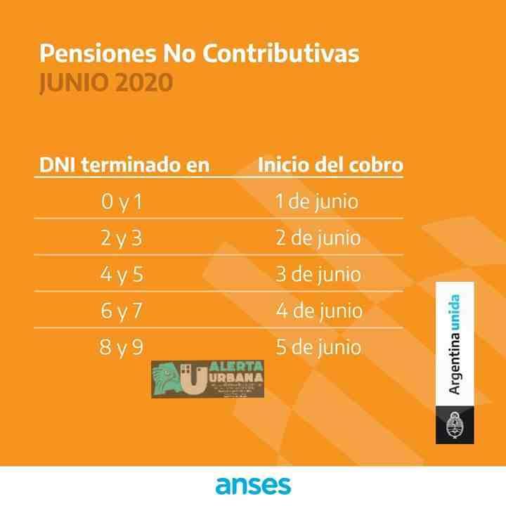 Calendario de Pago para pensiones no contributivas.