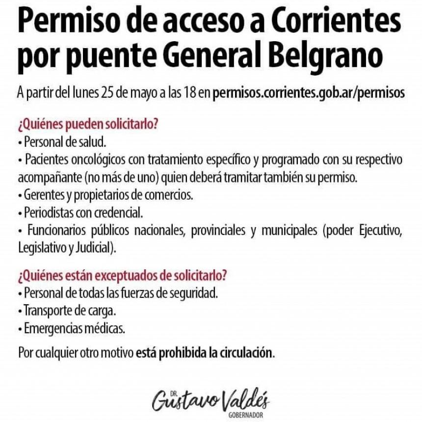 El acceso a la provincia de Corrientes sólo para personas autorizadas desde éste lunes 25 de mayo.