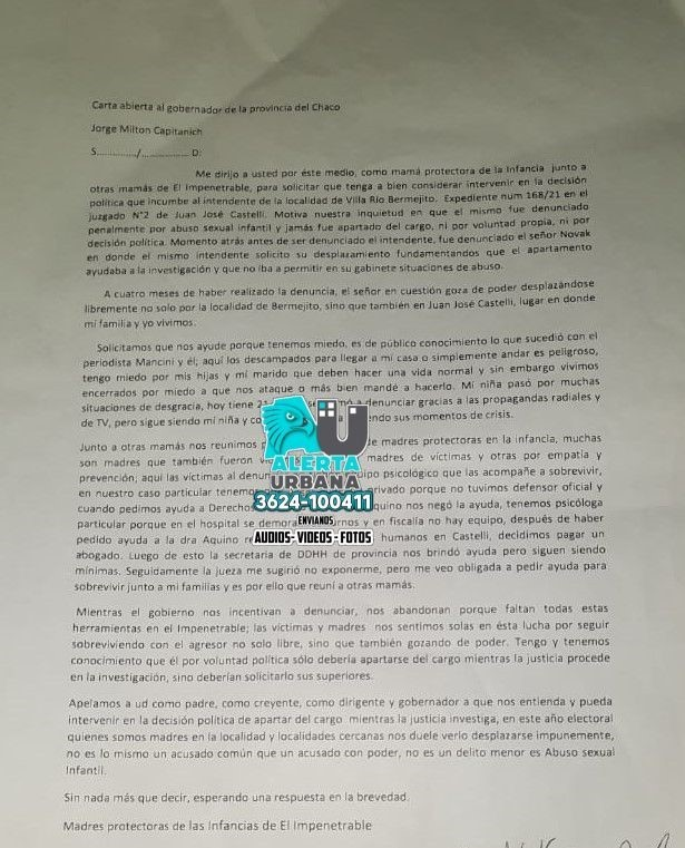 Denuncian al Intendente de Villa Río Bermejito