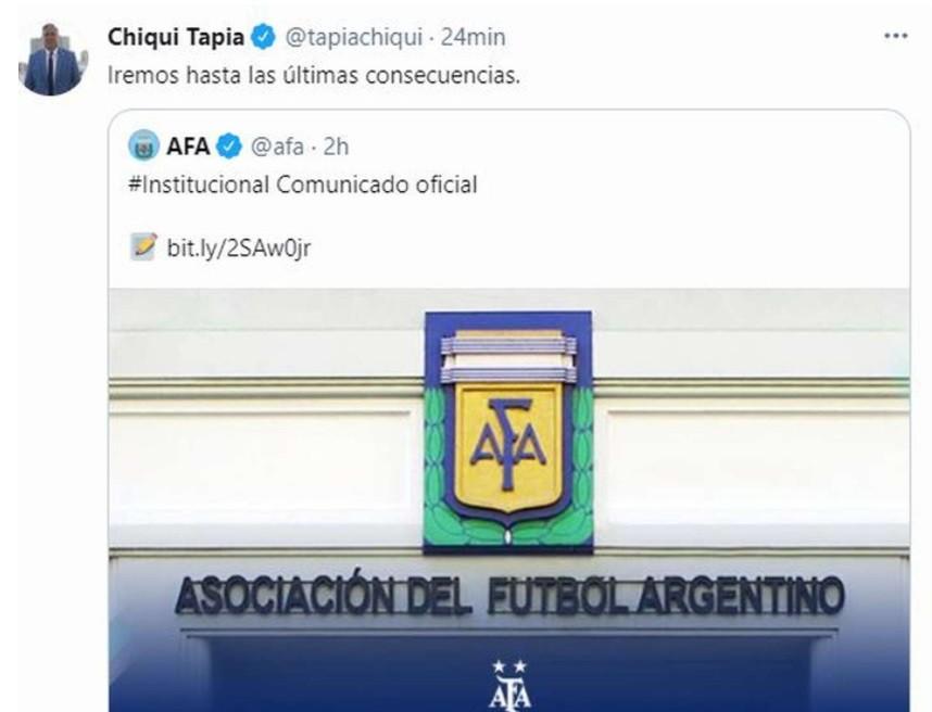 """Chiqui Tapia: """"Iremos hasta las últimas consecuencias"""""""