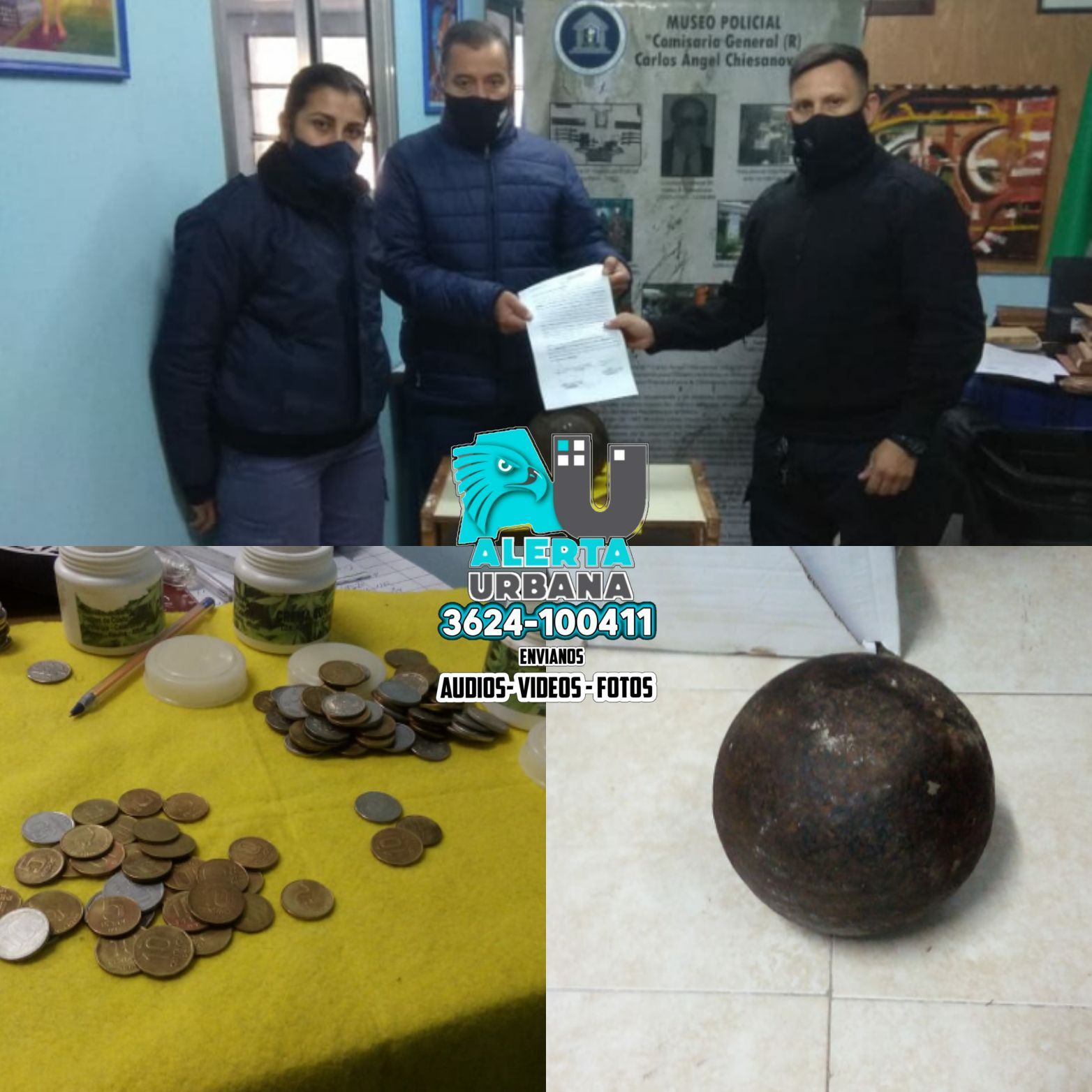 Museo Policial: entregaron monedas y bala de cañón histórica