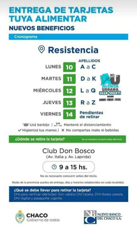 Resistencia: entrega de tarjetas Tuya Alimentar