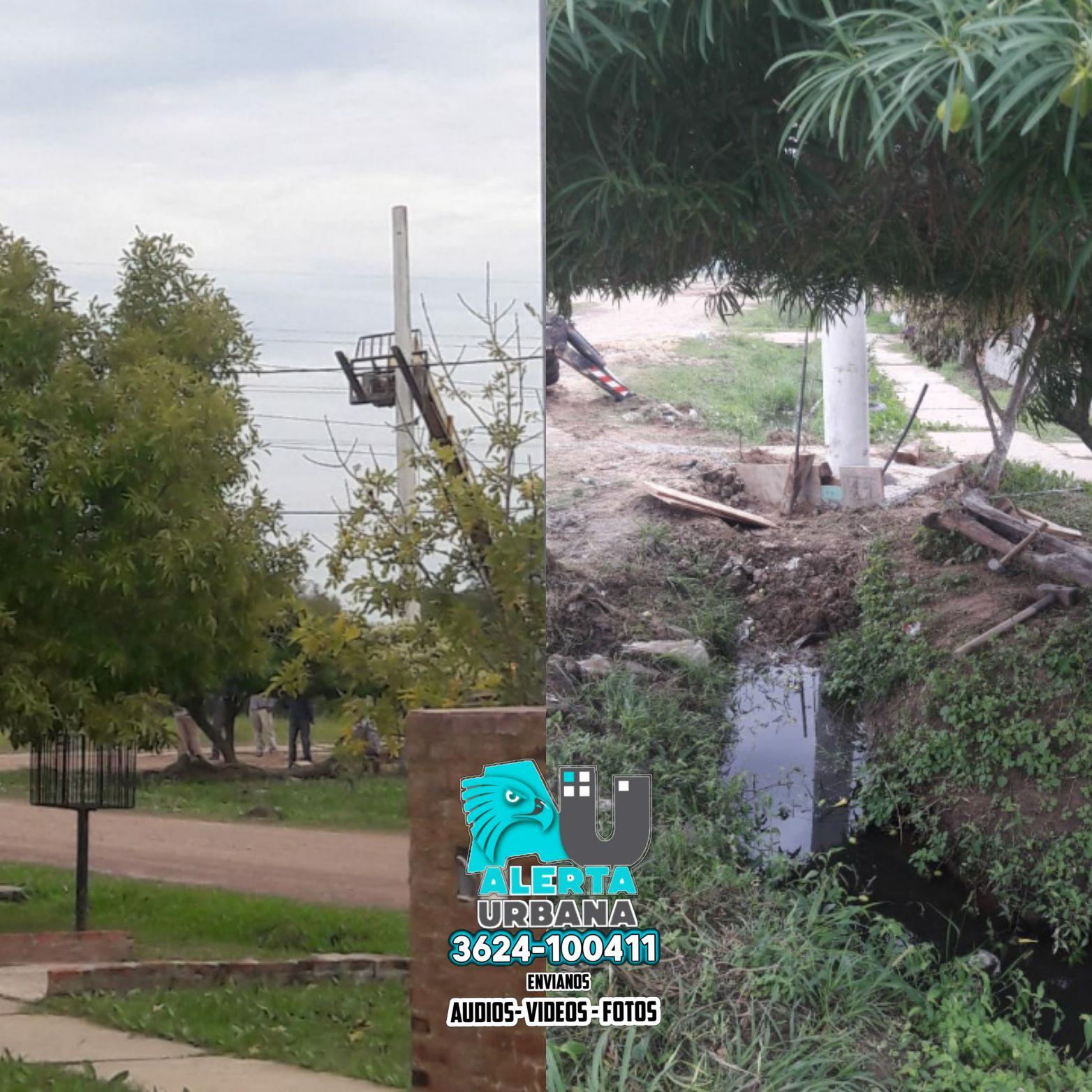 Barranqueras: postes obstruyen una zanja