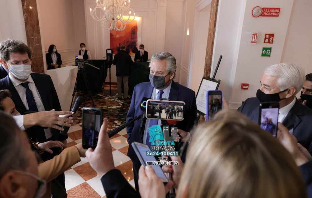 El presidente Alberto Fernández junto a Kristalina Georgieva