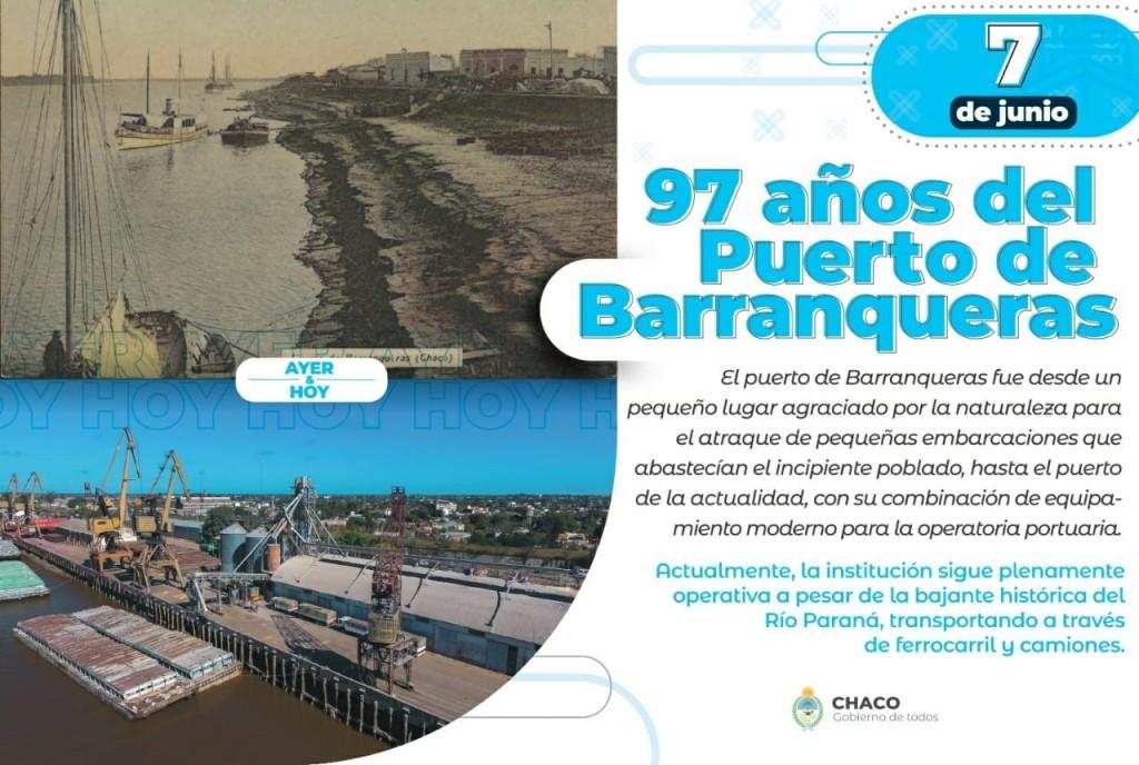 Con récords en transporte de producción, el Puerto de Barranqueras cumple 97 años.