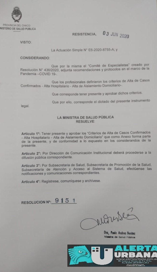 """El Ministerio de Salud Pública del Chaco aprobó los """"Criterios de Alta de Casos Confirmados"""