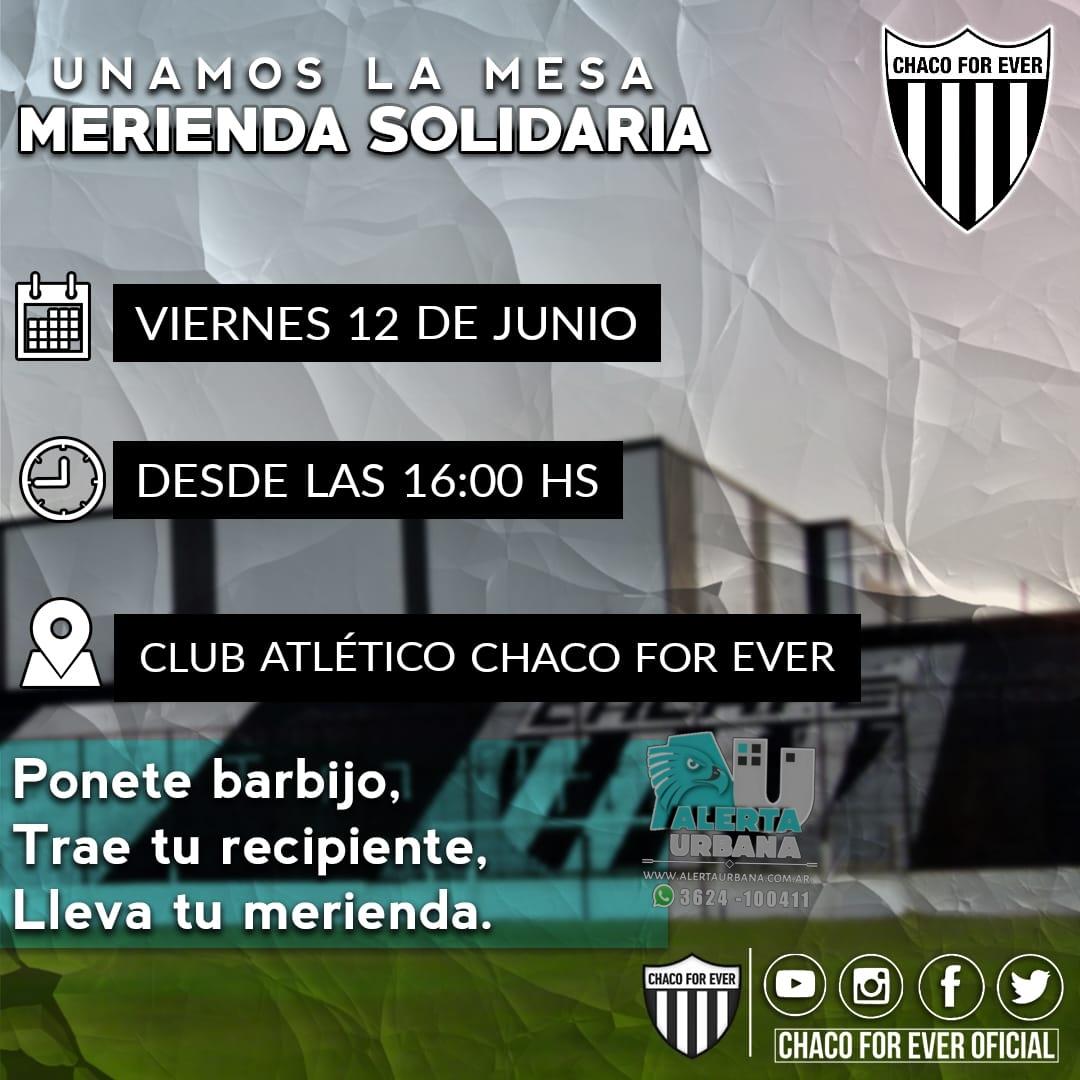 Chaco For Ever invita a una merienda solidaria.