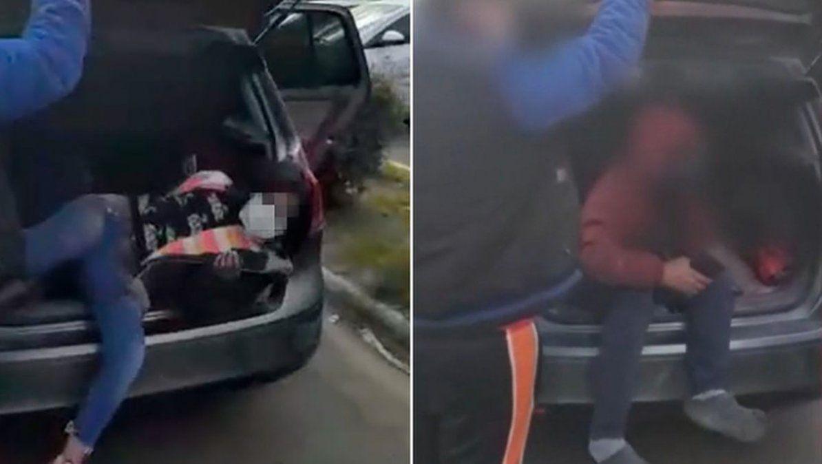 Detuvieron a una pareja que llevaba a sus hijos en el baúl: iban a festejar el cumpleaños del abuelo.