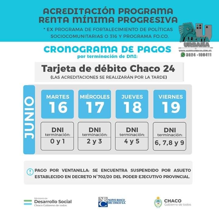 Cronograma de pagos por terminación de DNI.