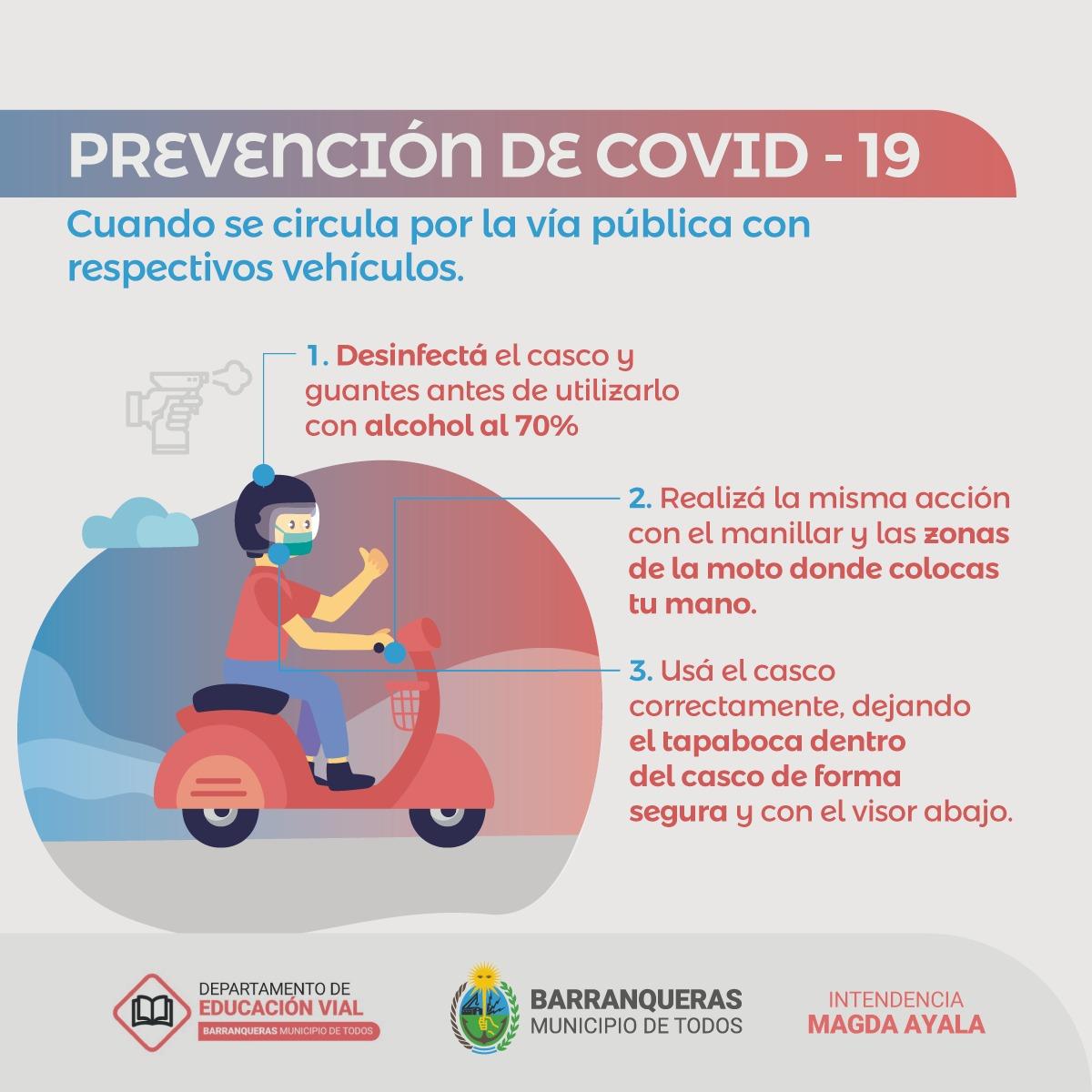 Barranqueras: Municipio brinda información sobre seguridad vial y protocolos sanitarios en conductores de motovehículos