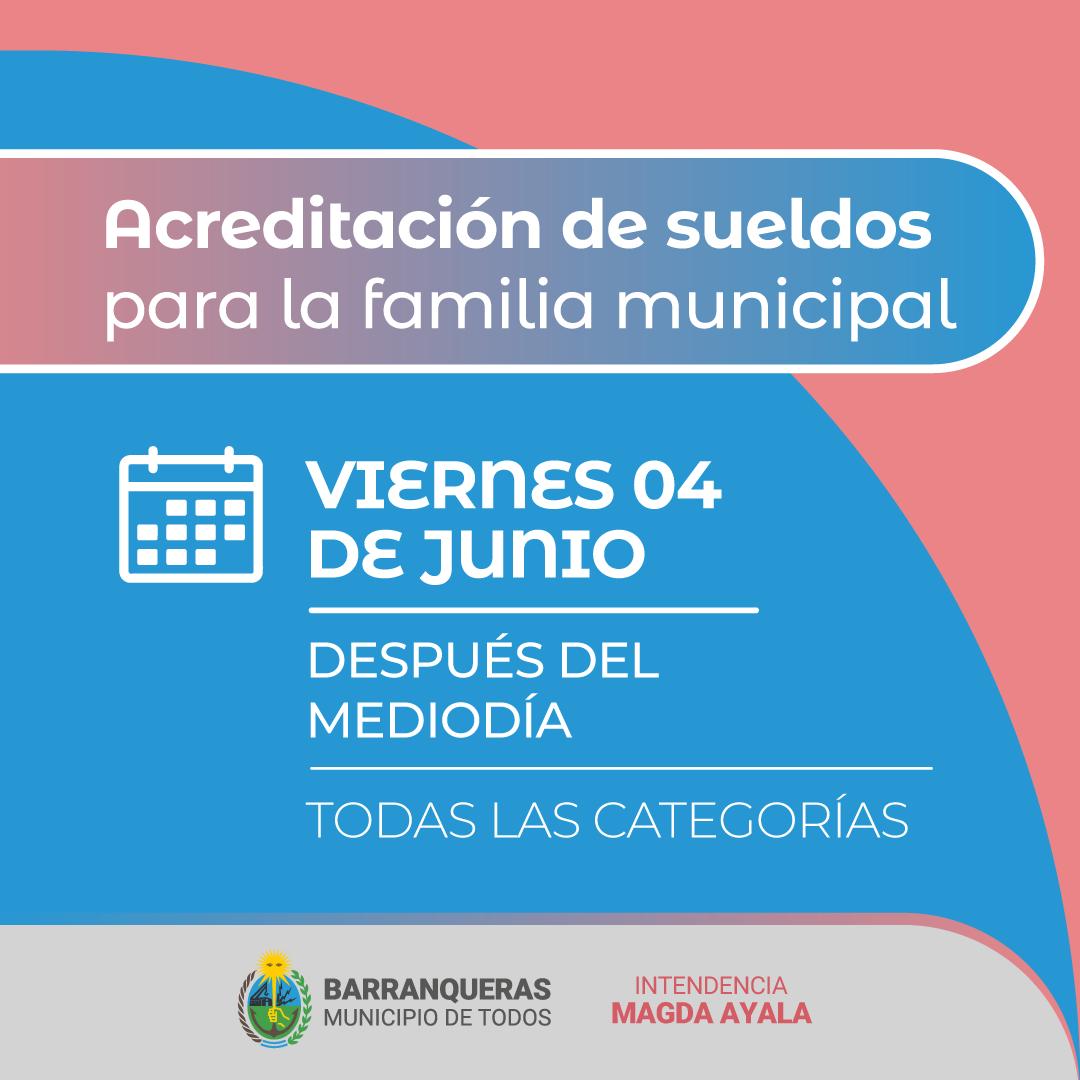 Barranqueras: este viernes 4 de Junio, se acreditarán los sueldos para la familia municipal