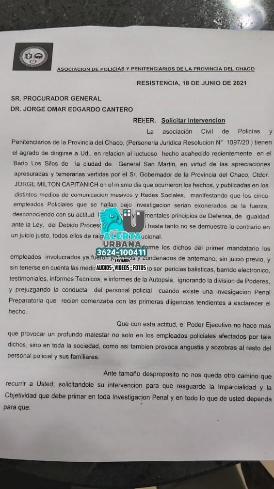 Se presentó un escrito ante el Poder Judicial sobre los hechos ocurrido en San Martín
