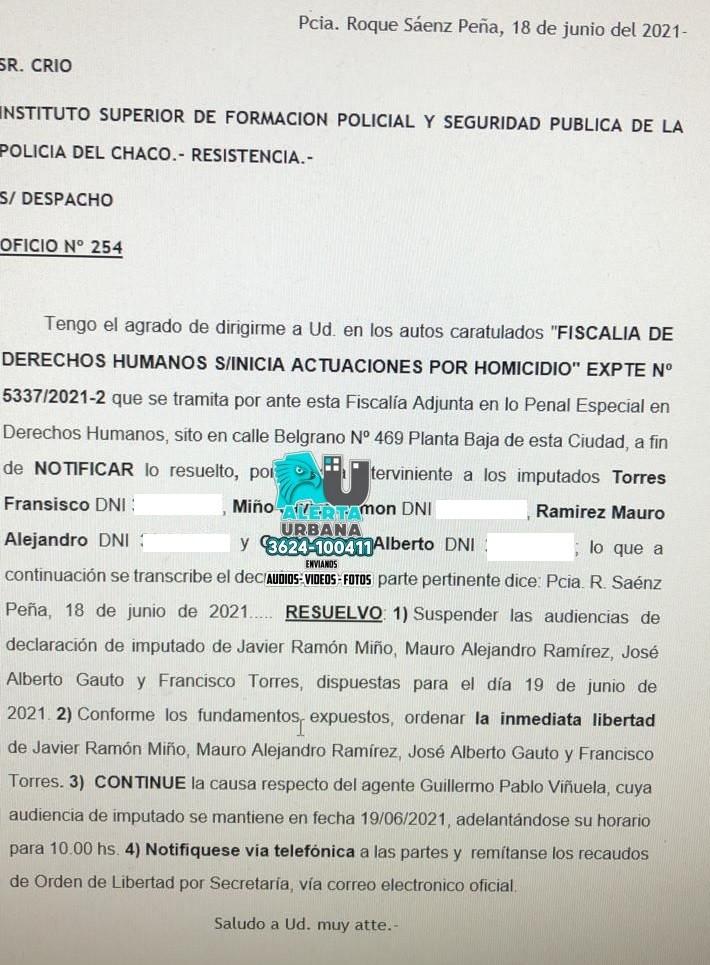 Gral. San Martin: 4 de los 5 policías aprehendidos fueron liberados