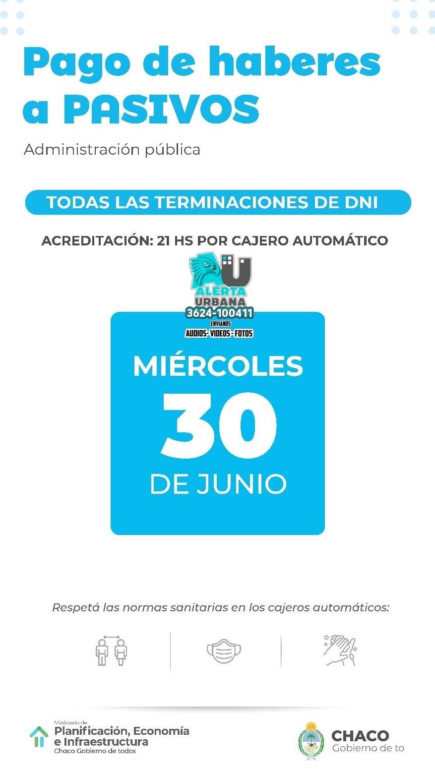 Chaco: Pago de haberes del mes de junio/21
