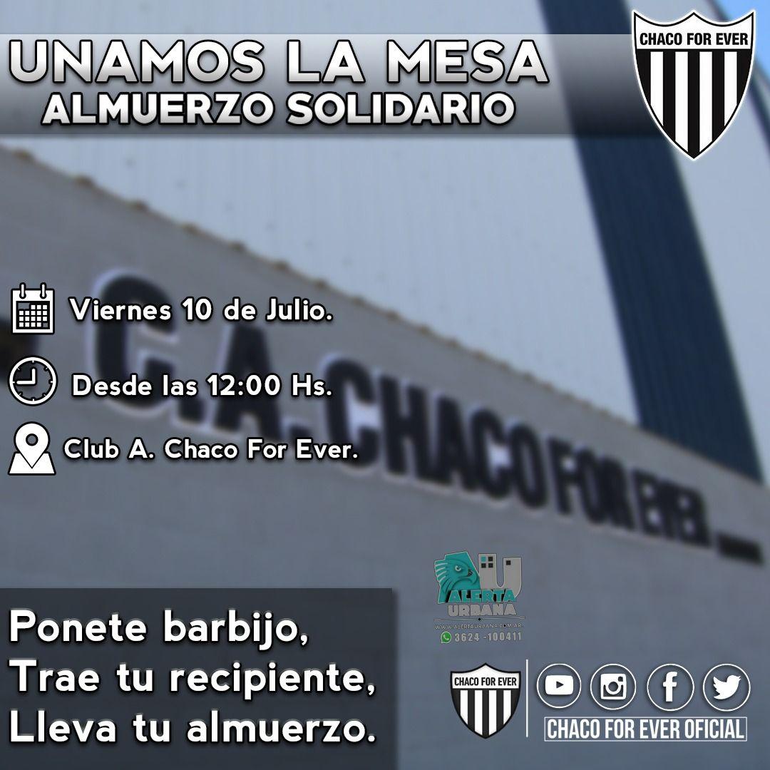 Chaco For Ever realizará un nuevo Almuerzo solidario