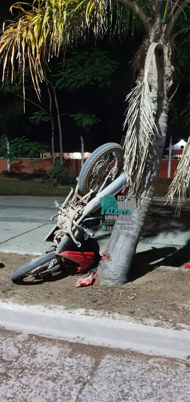 Murio joven de 22 años al impactar la motocicleta contra una palmera.