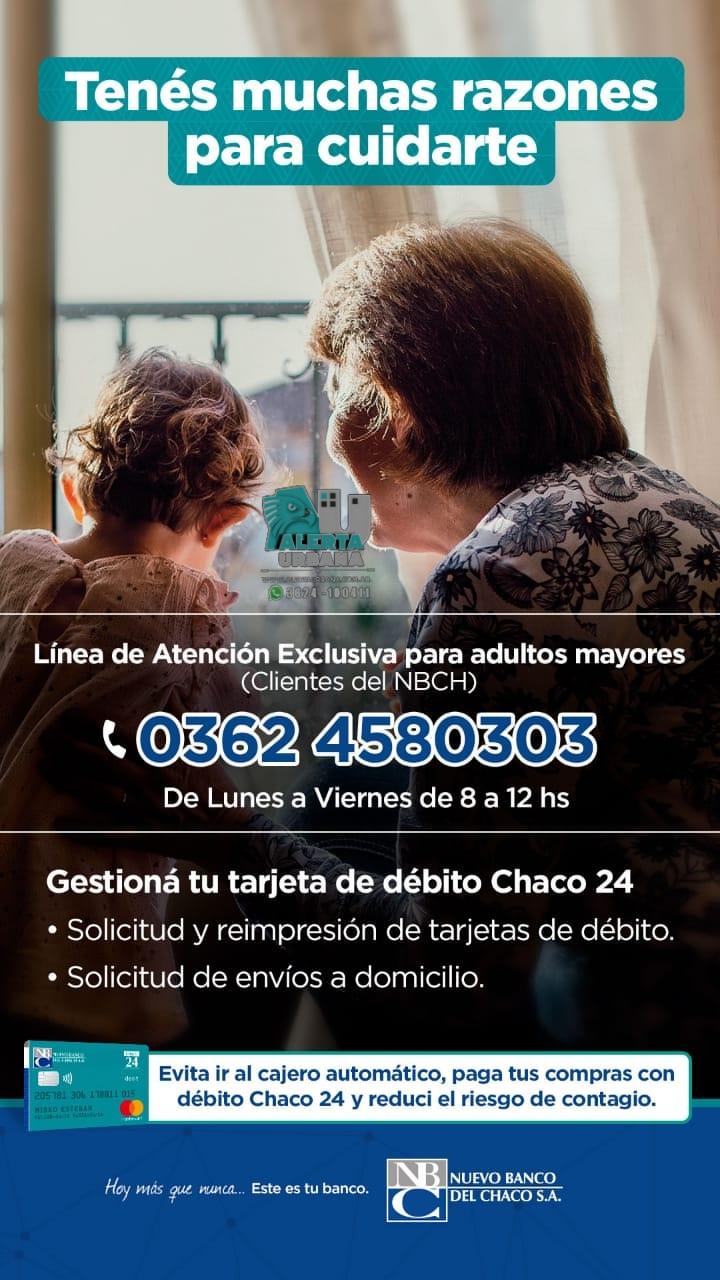 El Banco del Chaco ofrece un número de teléfono para asistir a adultos mayores.