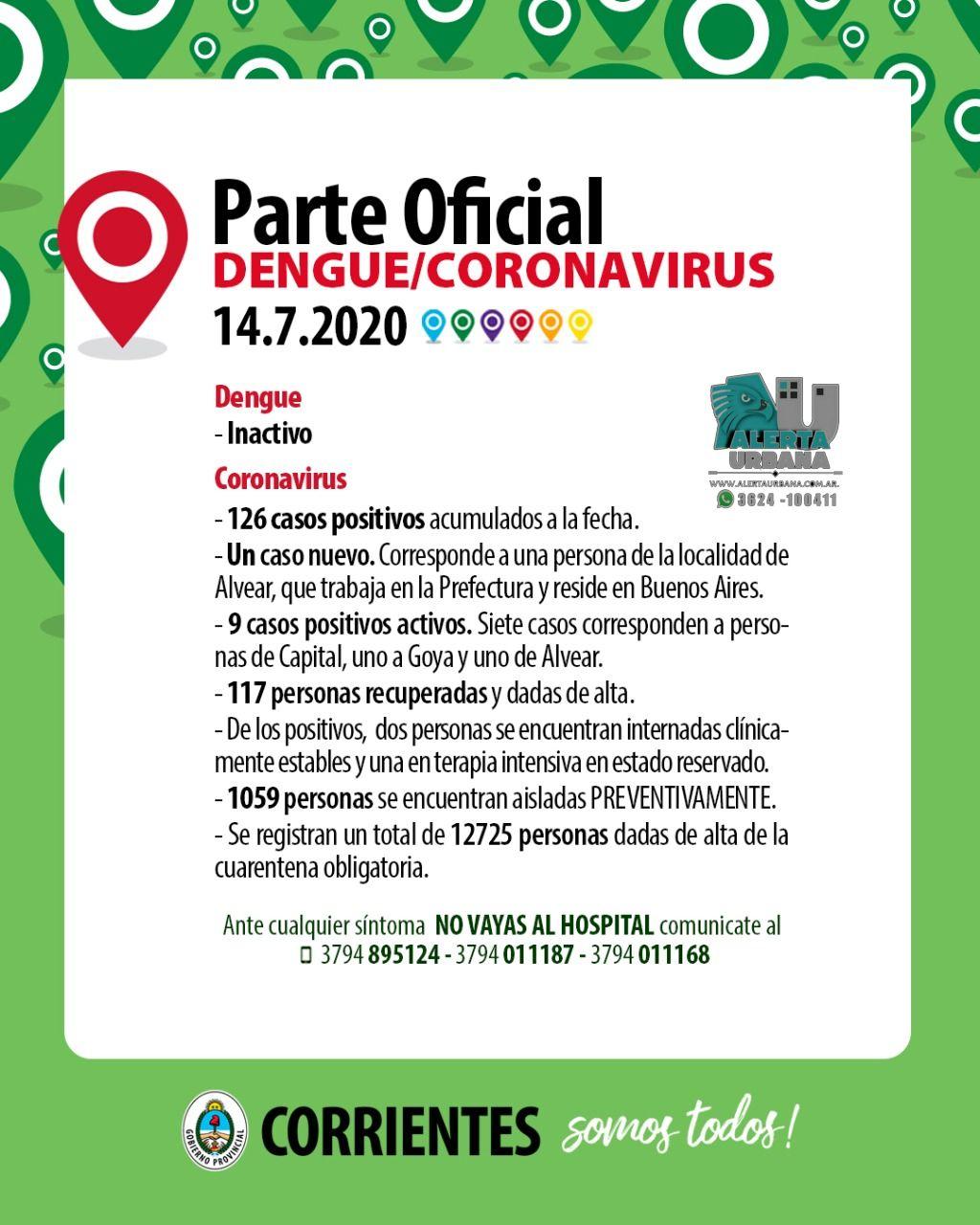 Un nuevo caso de Covid-19 en Corrientes