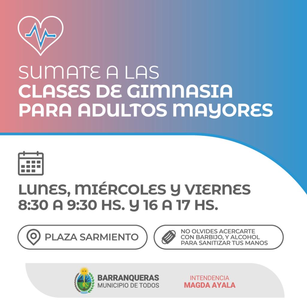 Barranqueras: Clases gratuitas de gimnasia para adultos mayores