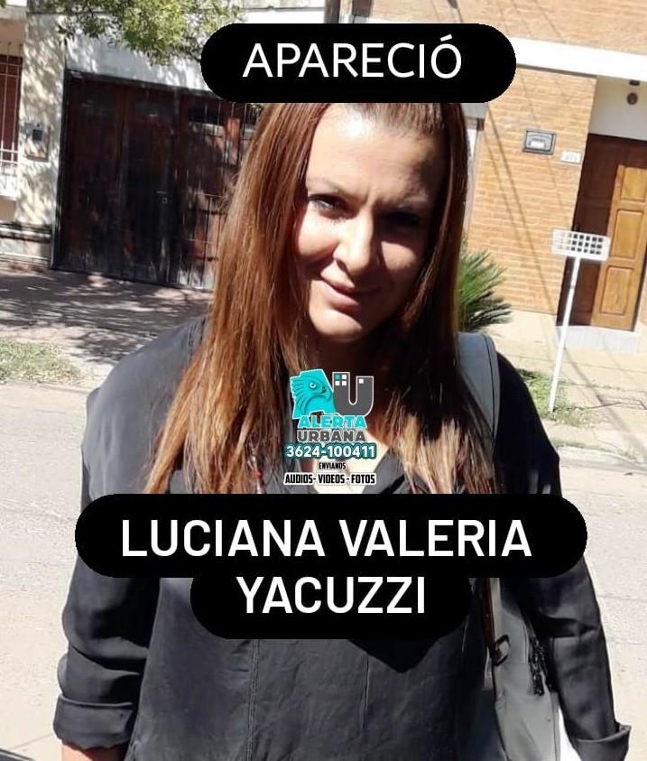 Apareció Luciana Valeria Yacuzzi