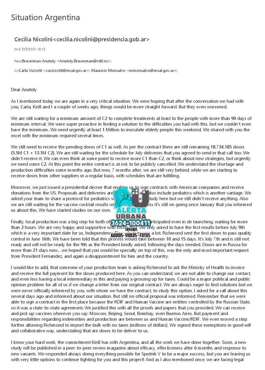 La carta a Rusia que revela la encrucijada del Gobierno por la falta de vacunas