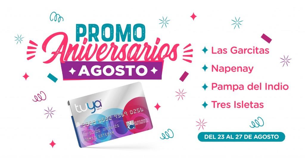 Tarjeta Tuya: aniversarios de agosto y promociones especiales en cuatro localidades