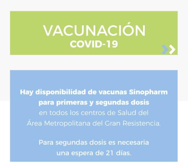 Disponibilidad de vacunas Sinopharm para primeras y segundas dosis