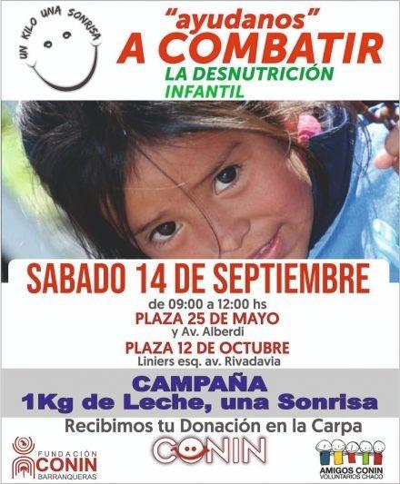 Fundación CONIN: éste sábado 14 de 09 a 12 recibirán donaciones de leche en polvo, en las plazas 12 de octubre y 25 de mayo de Resistencia.