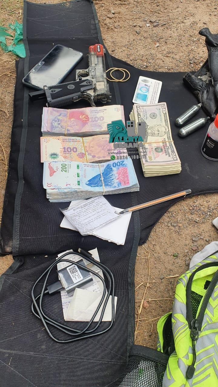 Fontana: un joven detenido con una pistola de aire comprimido y más de U$S12 mil.
