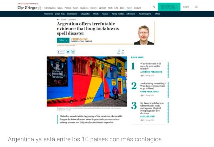La prensa europea afirma que la extensa cuarentena argentina es un desastre.