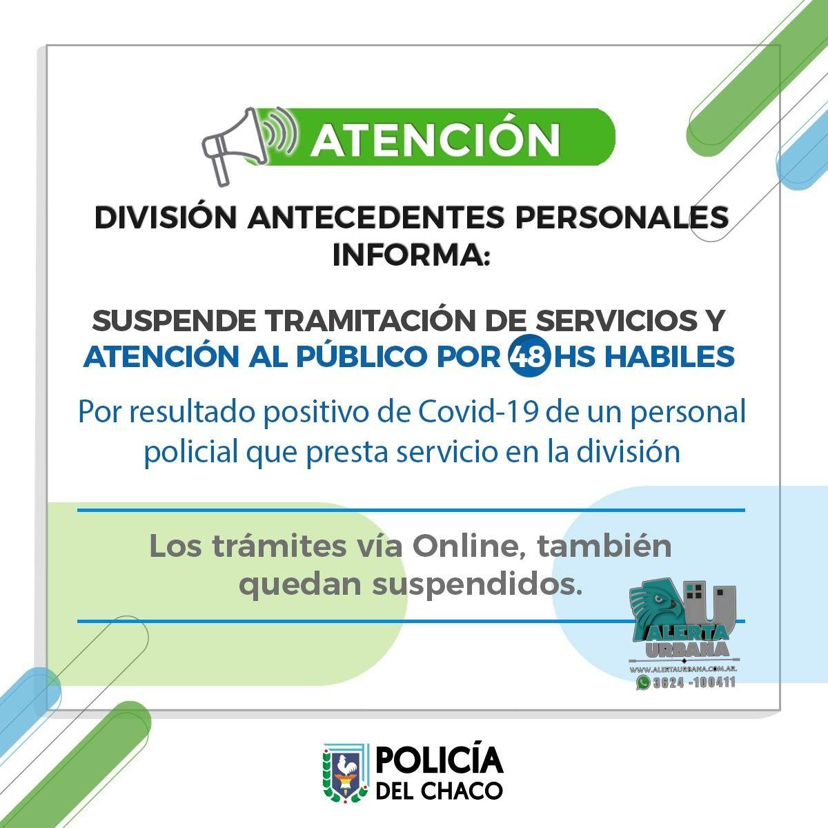 División Antecedentes Personales: Suspenden por 48 hs, la atención presencial y online para todo trámite