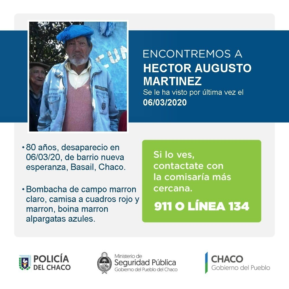 Buscan a Héctor Augusto Martínez desde hace seis meses